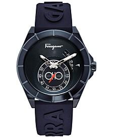 Men's Swiss Urban Blue Silicone Strap Watch 43mm