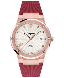 Women's Swiss F-80 Classic Red Caoutchouc Rubber Strap Watch 41mm