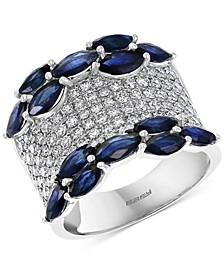 EFFY® Sapphire (3-3/4 ct. t.w.) & Diamond (1-1/4 ct. t.w.) Statement Ring in 14k White Gold