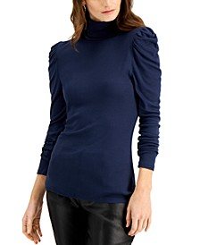 INC Puff-Sleeve Turtleneck Top, Created for Macy's