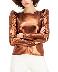 INC Plus Size Metallic Puff-Sleeve Top, Created for Macy's