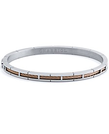 Cable Inlay Bangle Bracelet in Stainless Steel & 18k Rose Gold-Plate