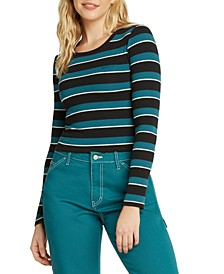 Juniors' Striped Ribbed Long-Sleeve T-Shirt