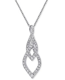 "Diamond Abstract 18"" Pendant Necklace (5/8 ct. t.w.) in 14k White Gold"