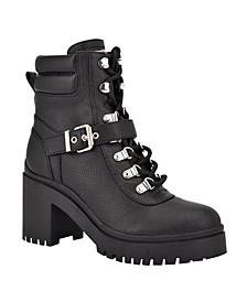 Women's Canaly Block Heel Combat Boots