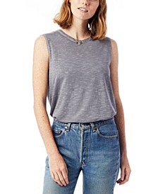 Inside Out Garment Dyed Slub Sleeveless Women's T-shirt