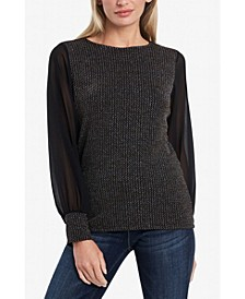 Women's Sparkle Knit Chiffon Sleeve Top