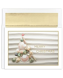 Masterpiece Cards Shell Christmas Tree Holiday Boxed Cards, 18 Cards and 18 Foil Lined Envelopes
