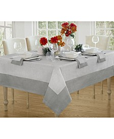 "New Wave Metallic Border Linen Tablecloth, 70"" x 96"""