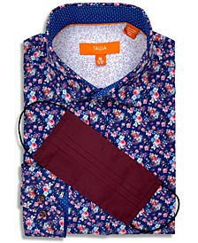 Receive a FREE Face Mask with purchase of the Tallia Men's Slim-Fit Performance Stretch Floral-Print Dress Shirt