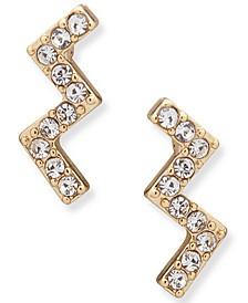Gold-Tone Crystal Zigzag Stud Earrings