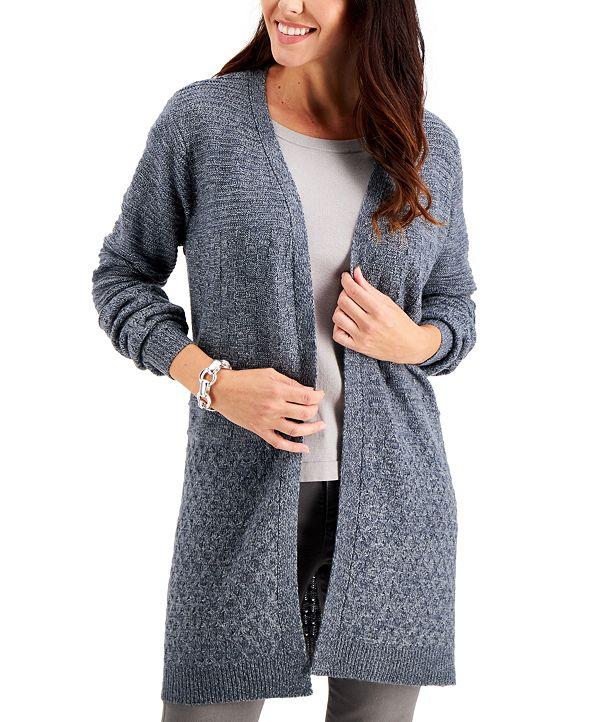 Karen Scott Plus Size Mixed-Stitch Cardigan, Created for Macy's