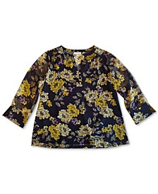Floral-Print Split-Neck Top, Created for Macy's