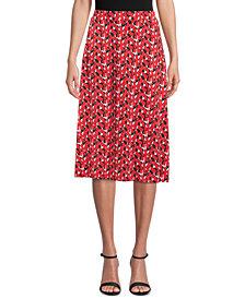 Kasper Abstract-Print Midi Skirt