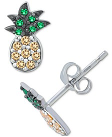 Cubic Zirconia Pineapple Stud Earrings in Sterling Silver, Created for Macy's
