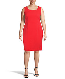 Kasper Plus Square-Neck Sheath Dress