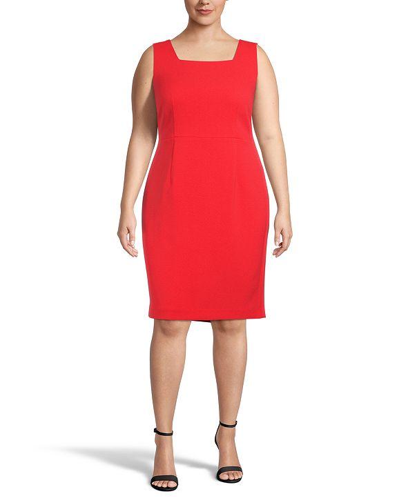Kasper Plus Square-Neck Sheath Dress