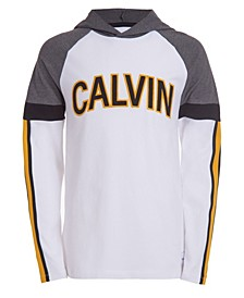 Big Boys Hooded Color Block Logo Long Sleeve Raglan T-shirt
