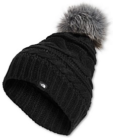 Triple Cable Faux-Fur Pom Pom Beanie