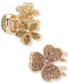 2-Pc. Gold-Tone Crystal Clover & Flower Hair Claw Set