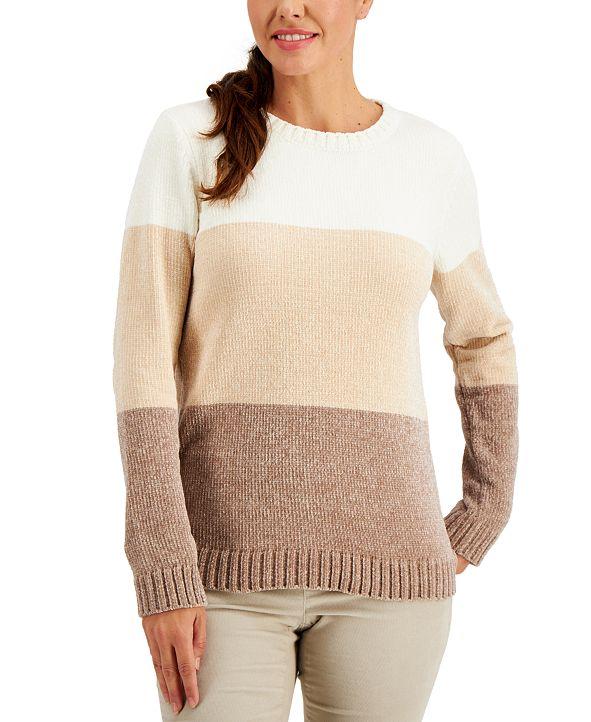 Karen Scott Chenille Colorblocked Sweater, Created for Macy's