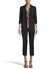 Open Front Jacket, Floral-Print Tie-Neck Camisole and Slim Ankle Pants, Created for Macy's