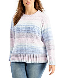 Plus Size Space-Dye Chenille Sweater, Created For Macy's