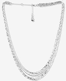 "Silver-Tone Chain-Link Layered Necklace, 15-1/2"" + 2-1/2"" extender"