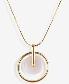 "Gold-Tone Crystal Orbital Pendant Necklace, 17"" + 2"" extender"