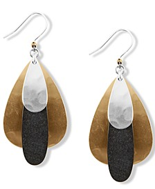 Tri-Tone Hammered Paddle Drop Earrings