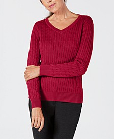 Petite Solid Cable-Knit V-Neck Sweater, Created for Macy's