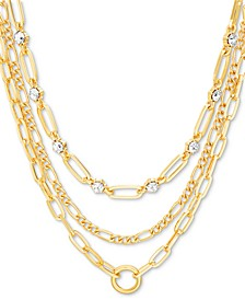 """Gold-Tone Crystal & Large Link Layered Necklace, 15"""" + 3"""" extender"""