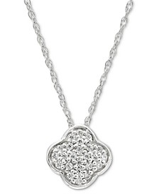 "Diamond Clover 18"" Pendant Necklace (1/20 ct. t.w.) in 14k White Gold"