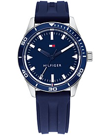 Men's Navy Silicone Strap Watch 44mm, Created For Macy's