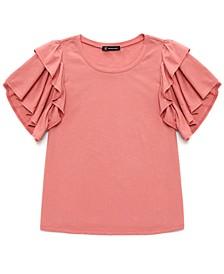 INC Cotton Ruffled-Sleeve Top, Created for Macy's