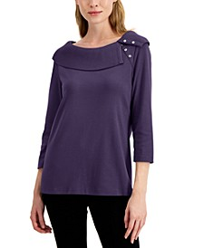 Petite Shawl-Collar Top, Created for Macy's