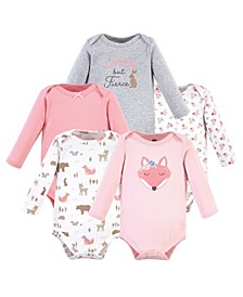 Boys and Girls Fox Long-Sleeve Bodysuits, Pack of 5