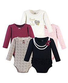 Baby Girls Heart of Gold Bodysuits, Pack of 5