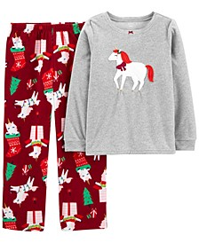 Little and Big Girls 2-Piece Unicorn Christmas Fleece Pajamas