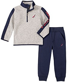 Little Boys Winter Fleece Zip Neck Pullover with Trim and Fleece Pant Set, 2 Piece