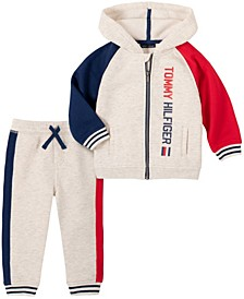 Toddler Boys Fleece Zip Front Hoodie and Fleece Pant Set, 2 Piece