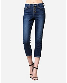 High Rise Button Up Straight Crop Jeans