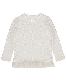 Little Girls Tulle Hem Elevated Mix and Match Sweater