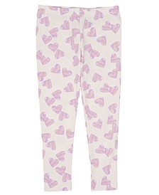 Little Girls All Over Heart Print Mix and Match Knit Legging