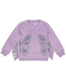 Toddler Girls Fringed Sides Butterfly Graphic Minky Sweatshirt