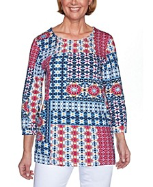 Women's Patchwork Three-Quarter Sleeve Misses Top