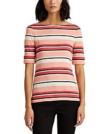 Petite Cotton-Blend Boatneck Top