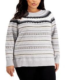 Plus Size Crewneck Fair Isle Sweater