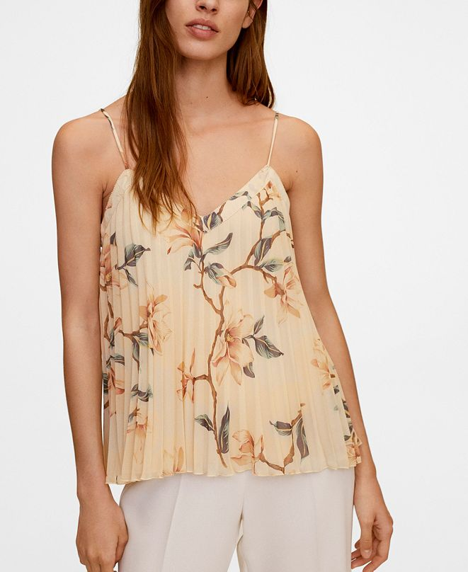 MANGO Women's Floral Pleated Top