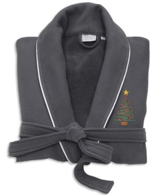 X-Mas Tree Waffle Terry Embroidered Bathrobe with Satin Piped Trim